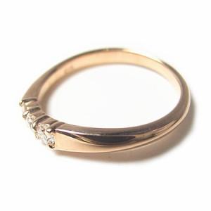 K18*ピンクゴールド天然ダイヤモンド0.12ctシンプルツイストピンキーリング『ジュエリーケース付』 送料無料 クリスマス ギフト