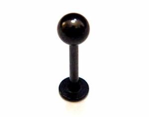 【メール便 送料無料】ラブレット ブラック 16GA(1.2mm)テンプル ボールタイプ サージカルステンレス316L 【ボディピアス/黒色】 ┃