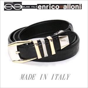 ENRICO ALLONI エンリコ・アローニ クロコ型押・牛革3連コンビベルト (つやあり)