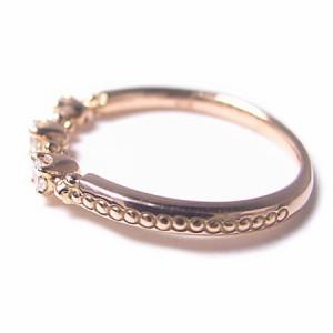 K18*ピンクゴールド天然ダイヤモンド0.12ctスリーストーンピンキーリング『ジュエリーケース付』 送料無料