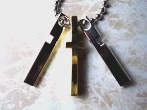 【ネックレス】クロス3ブロックネックレス☆gl