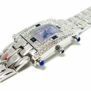 ヴァレンチノ ロレンタ 天然サファイア使用 小さめスクエアー腕時計 VR112SL 鑑別書付き 送料無料