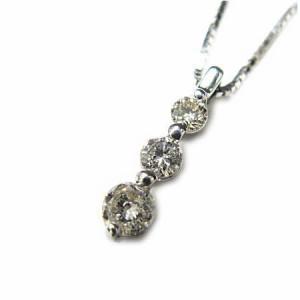 スリーストーン 天然ダイヤモンドネックレスホワイトゴールドK18WG 送料無料 誕生日プレゼント ギフト