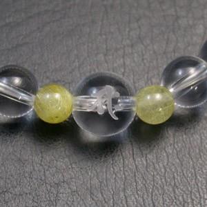 梵字水晶10mm玉(白字)・ルチルクォーツ・水晶ブレスレット (レディースSサイズ)