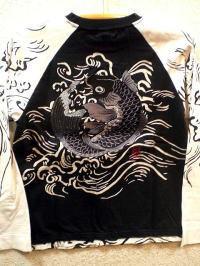 カラクリ 長袖Tシャツ 跳ね鯉刺繍 KARAKURI