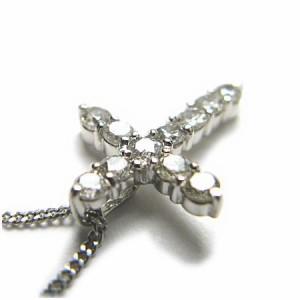 天然ダイヤモンド1ctクロスネックレスK18WG【ケース&保証書付】 送料無料