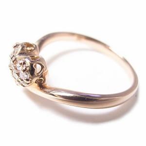 K18*ピンクゴールド天然ダイヤモンドハートパヴェピンキーリング『ジュエリーケース付』 送料無料