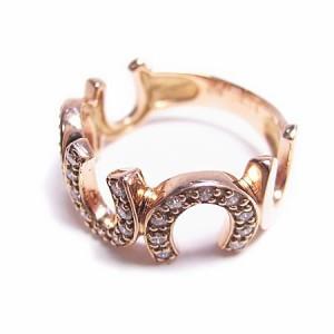 K18*ピンクゴールド天然ダイヤモンド0.18ct馬蹄ピンキーリング『ジュエリーケース付』 送料無料
