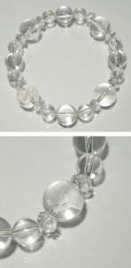 ◆風水・四神獣手彫り水晶12mm玉◆ カット水晶・水晶ブレスレット (メンズM、レディースLサイズ)/天然石/パワーストーン