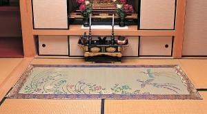 【送料無料!ポイント2%】上質な本袋織り!い草御前座布団・御前拝敷(四季の花)