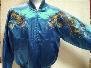 スカジャン 胸ツナギ玉龍 日本製本格刺繍