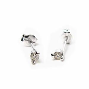 天然ダイヤモンド0.10ct!2本爪ダイヤモンドピアスK18WG【ケース/当社保証書付】 送料無料