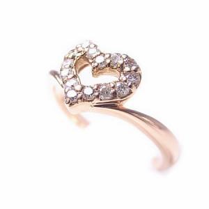 K18*ピンクゴールド天然ダイヤモンド0.11ctオープンハートピンキーリング『ジュエリーケース付』 送料無料