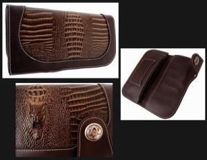 【在庫処分SALE 】クロコ型押しのウォレット長財布タイプ