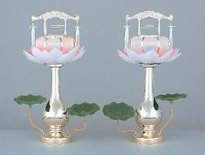 【送料無料!ポイント2%】幽玄な光でご先祖供養回転蓮華灯2個セット 2色