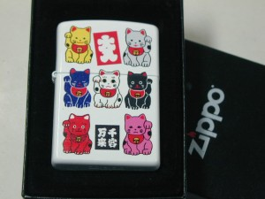 Zippo招き猫七色猫(ホワイト白ねこ)ジッポーB