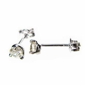 天然ダイヤモンド0.30ct!3本爪ダイヤモンドピアスK18WG【ケース/当社保証書付】 送料無料