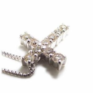 クロスモチーフ!天然ダイヤモンドネックレスホワイトゴールドK18WG 送料無料 クリスマス ギフト