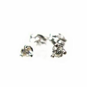天然ダイヤモンド0.10ct!3本爪ダイヤモンドピアスK18WG【ケース/当社保証書付】 送料無料