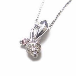 K18WG*ホワイトゴールド天然ピンクダイヤ×ダイヤモンド0.11ctネックレス*ケース・当店保証書付き* 送料無料