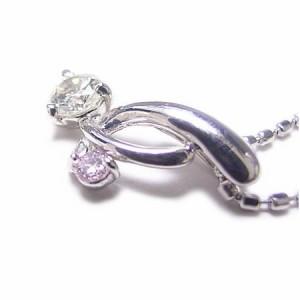 K18WG*ホワイトゴールド天然ピンクダイヤ×ダイヤモンドチェリーネックレス*ケース・当店保証書付き* 送料無料
