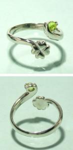 ペリドット・クローバーシルバーリング フリーサイズ(3〜7号) /シルバーアクセ/シルバーアクセサリー/指輪