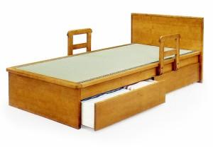 【シングルサイズ】国産畳使用!引き出し2杯付きフラットヘッドベッド移動式手すり付き畳ベッドタタミ和風モダン天然木タモ突板