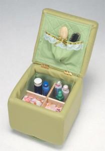 【送料無料!ポイント2%】座面下にポケットと仕切りボックス付き!回転スツール 2色