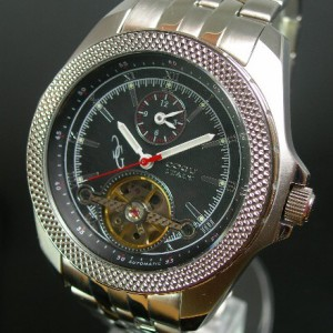 COGU / コグ メンズ腕時計 自動巻 デュアルタイム スケルトン ブラック文字盤 メタルバンド BDT-BK