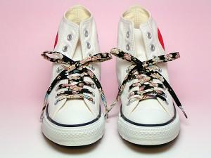 【和柄靴紐】ちりめんくつひも(ノーマル)。靴ひもでお手軽にスニーカーを和柄に。洗濯しても大丈夫な日本製クツヒモ。(色86)