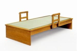 【シングルサイズ】国産畳使用♪ヘッドレスベッド◆移動式手すり付き畳ベッド和風モダンシングルベッド天然木タモ突板