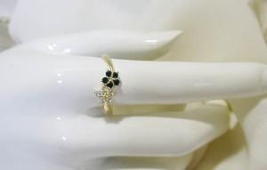 オニキスの花♪18金ゴールドリング