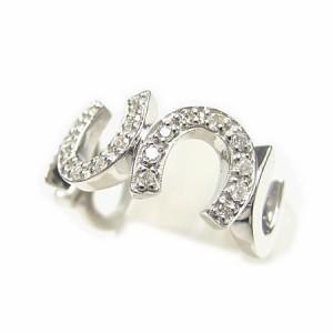 K18*ホワイトゴールド天然ダイヤモンド0.18ct馬蹄ピンキーリング『ジュエリーケース付』 送料無料