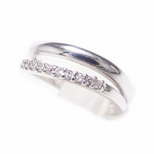 K18*ホワイトゴールド天然ダイヤモンドダブルラインピンキーリング『ジュエリーケース付』 送料無料