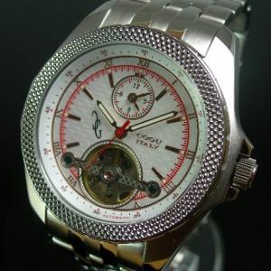 COGU / コグ メンズ腕時計 自動巻 デュアルタイム スケルトン ホワイト文字盤 メタルバンド BDT-W-RD