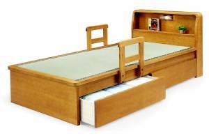 【シングルサイズ】国産畳使用♪引き出し2杯付き:ライト・宮付きベッド移動式手すり付き畳ベッドタタミ和風モダン天然木タモ突板