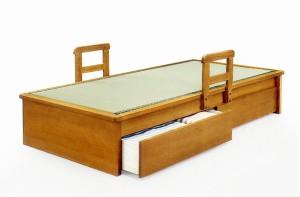 【シングルサイズ】国産畳使用♪引き出し2杯付きヘッドレスベッド移動式手すり付き畳ベッドタタミベッド和風モダン天然木タモ突板