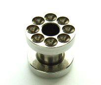 メール便 送料無料/ボディピアス フレッシュトンネル 凹仕様 4GA(5mm) サージカルステンレス ボディーピアス ┃