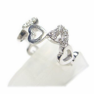 K18*ホワイトゴールド天然ダイヤモンド0.15ctハート×ハートピンキーリング『ジュエリーケース付』 送料無料