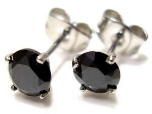即納 ■送料無料■juraice■ブラックCZダイヤモンドステンレスピアスesj803b