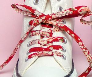 【和柄靴紐】ちりめんくつひも(ノーマル)。靴ひもでお手軽にスニーカーを和柄に。洗濯しても大丈夫な日本製クツヒモ。(色88)