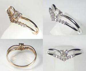上品デザイン:ダイヤモンドの18金ピンクゴールドリング