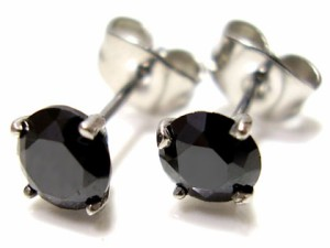 即納 ■送料無料■juraice■ブラックCZダイヤモンドステンレスピアスesj802b