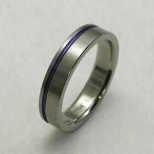 31%OFF! 平打ちブルーライン・細身 純チタンリング 7〜21号 SAVER ONE(セイバーワン) /メンズリング 指輪 チタニウム アレルギーフリー