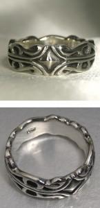 唐草ライン・スクエアシルバーリング 7〜23号 メンズ アクセサリー 指輪 SV925