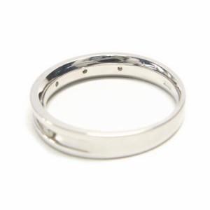 K10WG*ホワイトゴールド天然ダイヤモンド0.1ct5ポイントマットラインリング 送料無料