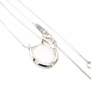0.05ct天然ダイヤモンド幸せのホースシュー3粒ダイヤモンドペンダントK10WG【ケース&保証書付】 送料無料