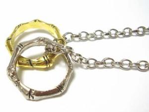 即納 ■525円juraice■【最安値】【500個完売】ゴールド×シルバー2リングネックレス最安値!g8406-17