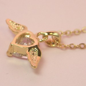 14K ゴールド コーティング CZダイヤ 天使の翼 ペンダント ネックレス JI-1go