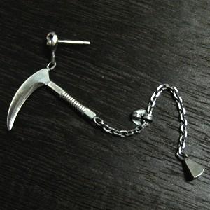 鎖鎌シルバーピアス(1P/片耳用)【鎌-kama-】【仁-ZIN-】シルバー925/silver/メンズ/ピアス/片耳/ブランド/和風/個性的